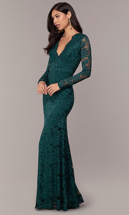 Image of long-sleeve floor-length lace prom dress. Style: CL-47136 Detail Image 3