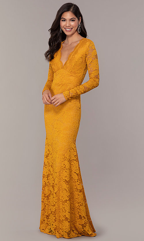 Image of long-sleeve floor-length lace prom dress. Style: CL-47136 Detail Image 6