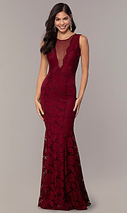 Image of long lace illusion-bodice formal prom dress. Style: CL-46815 Detail Image 3