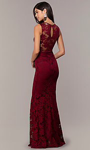 Image of long lace illusion-bodice formal prom dress. Style: CL-46815 Detail Image 4
