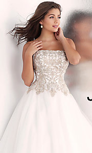 Image of long strapless ball-gown-style formal prom dress. Style: JO-JVN-JVN62012 Detail Image 1