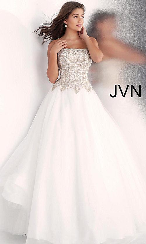 Image of long strapless ball-gown-style formal prom dress. Style: JO-JVN-JVN62012 Front Image
