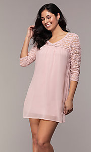 Image of short 3/4-sleeve chiffon shift party dress with lace. Style: AS-A9391104 Front Image