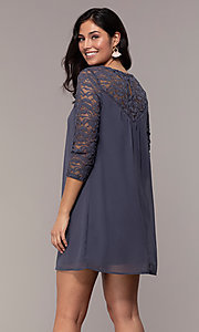 Image of short 3/4-sleeve chiffon shift party dress with lace. Style: AS-A9391104 Detail Image 5