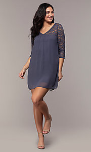 Image of short 3/4-sleeve chiffon shift party dress with lace. Style: AS-A9391104 Detail Image 8
