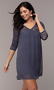 Image of short 3/4-sleeve chiffon shift party dress with lace. Style: AS-A9391104 Detail Image 4