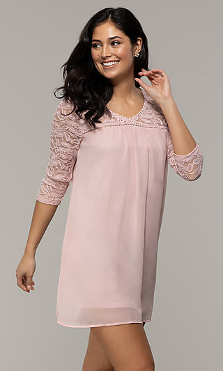 Short 3/4-Sleeve Chiffon Shift Party Dress with Lace
