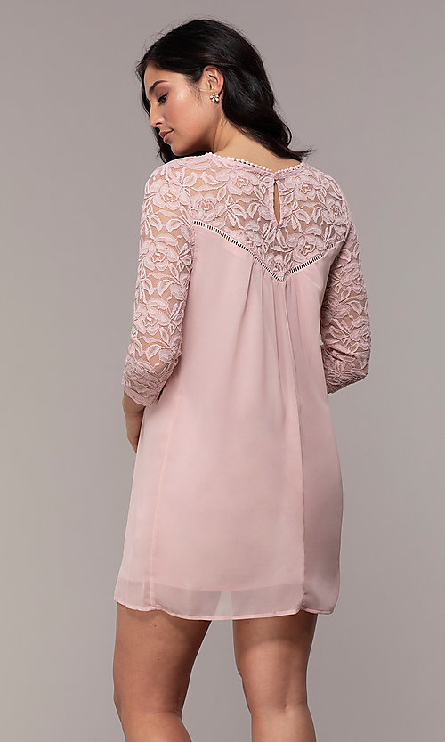 Image of short 3/4-sleeve chiffon shift party dress with lace. Style: AS-A9391104 Back Image