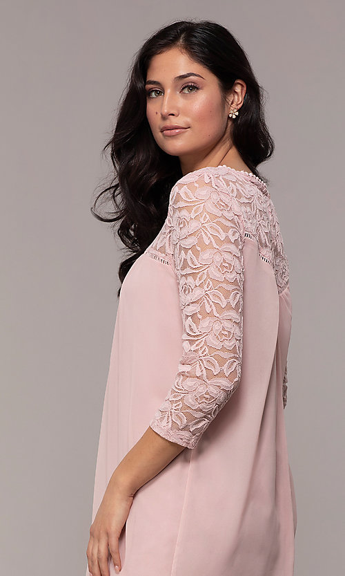 Image of short 3/4-sleeve chiffon shift party dress with lace. Style: AS-A9391104 Detail Image 2