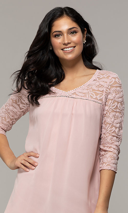 Image of short 3/4-sleeve chiffon shift party dress with lace. Style: AS-A9391104 Detail Image 1