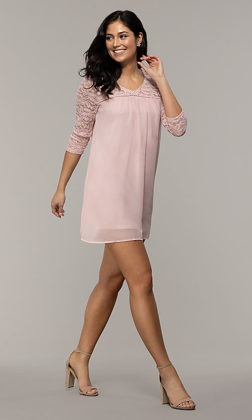 Image of short 3/4-sleeve chiffon shift party dress with lace. Style: AS-A9391104 Detail Image 3