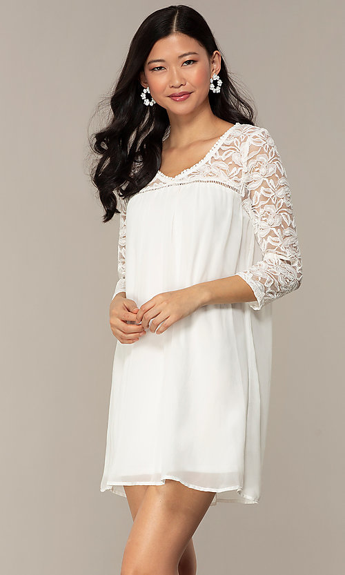 Image of short 3/4-sleeve chiffon shift party dress with lace. Style: AS-A9391104 Detail Image 6