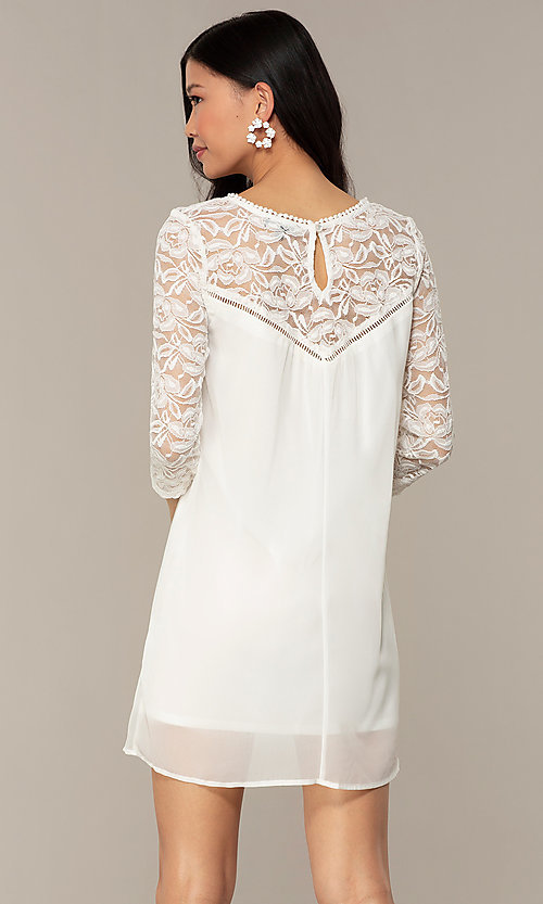Image of short 3/4-sleeve chiffon shift party dress with lace. Style: AS-A9391104 Detail Image 7