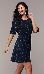 Image of short floral-print party dress with short sleeves. Style: AS-A139547A31 Front Image