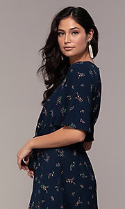 Image of short floral-print party dress with short sleeves. Style: AS-A139547A31 Detail Image 2