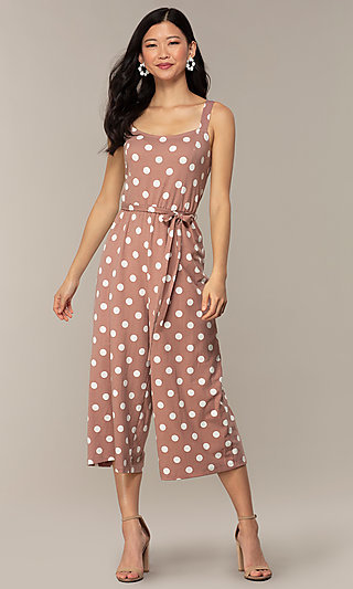 Wedding Guest Polka Dot Print Cropped Jumpsuit