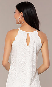 Image of short lace shift graduation white party dress. Style: AS-A46914A55 Detail Image 2