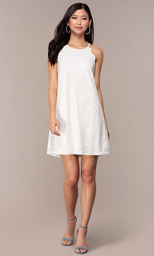 Image of short lace shift graduation white party dress. Style: AS-A46914A55 Detail Image 3