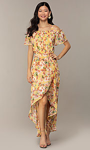 Image of floral-print high-low casual party dress. Style: AS-A120095F61 Detail Image 3