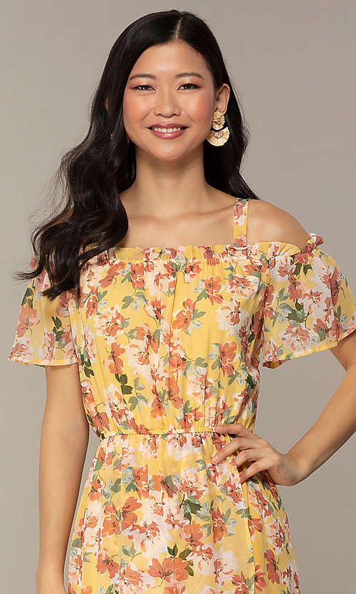 Image of floral-print high-low casual party dress. Style: AS-A120095F61 Detail Image 1