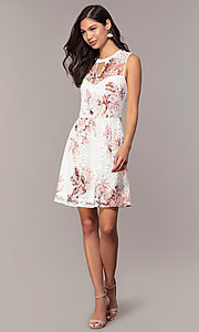 Image of short lace floral-print graduation party dress. Style: AS-A889206B84R Detail Image 3