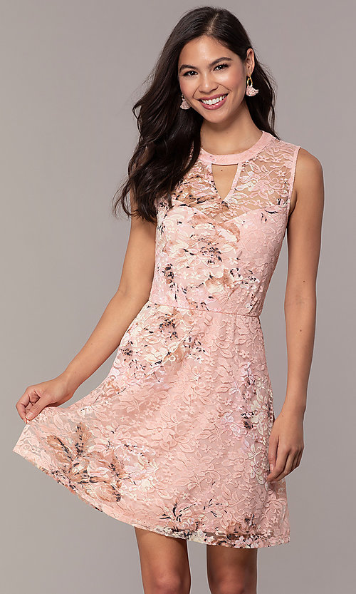 b7f2e6a425677 Image of short lace floral-print graduation party dress. Style:  AS-A889206B84R