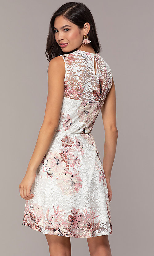 Image of short lace floral-print graduation party dress. Style: AS-A889206B84R Back Image