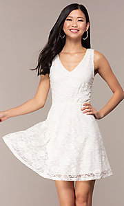 Image of off-white short v-neck lace graduation dress. Style: AS-A16644C11 Front Image