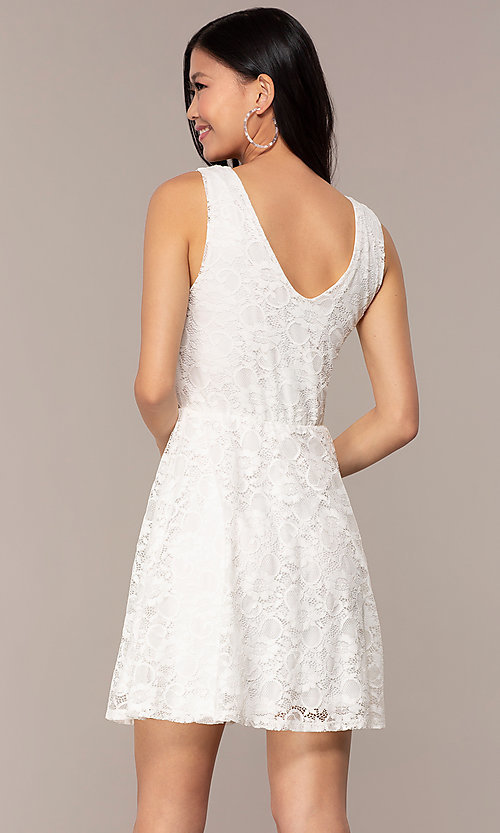 Image of off-white short v-neck lace graduation dress. Style: AS-A16644C11 Back Image