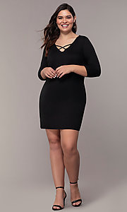 Image of three-quarter-sleeve short bodycon plus party dress. Style: AS-A1381U524X Detail Image 8