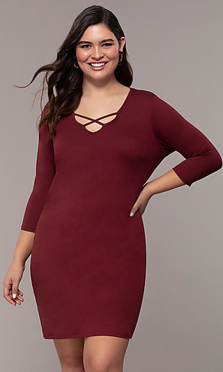 Three-Quarter-Sleeve Short Bodycon Plus Party Dress