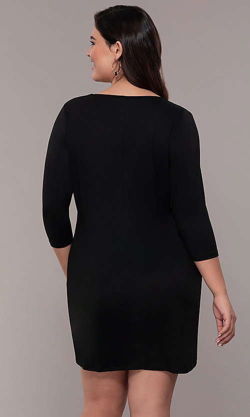 Image of three-quarter-sleeve short bodycon plus party dress. Style: AS-A1381U524X Detail Image 5