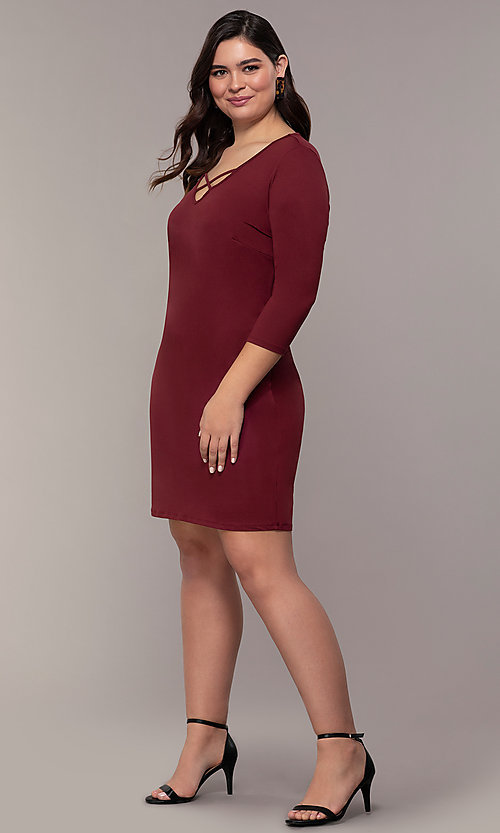 Image of three-quarter-sleeve short bodycon plus party dress. Style: AS-A1381U524X Detail Image 3