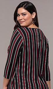 Image of striped 3/4-sleeve short shift plus party dress. Style: AS-A1381U01E27X Detail Image 2