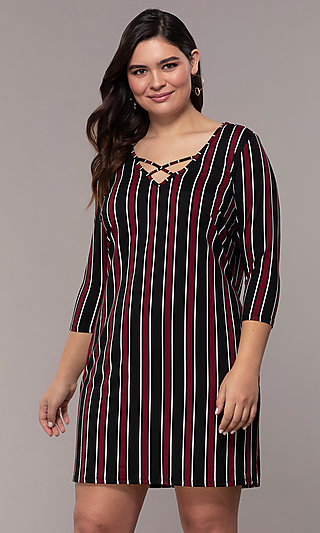 Striped 3/4-Sleeve Short Shift Plus Party Dress