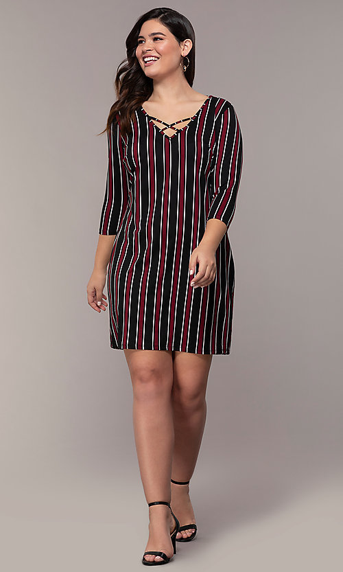 Image of striped 3/4-sleeve short shift plus party dress. Style: AS-A1381U01E27X Detail Image 3