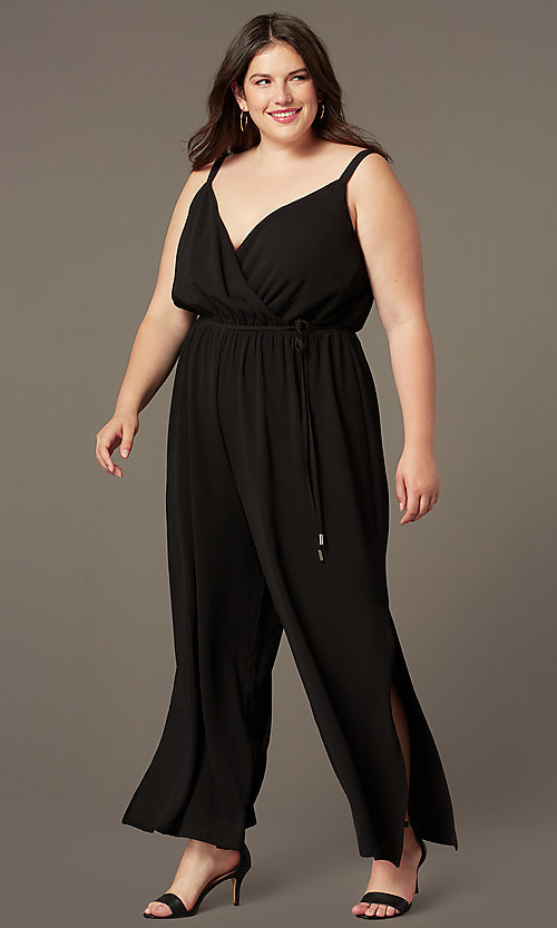 Image of split-leg v-neck wedding-guest plus-size jumpsuit. Style: AS-A9325106X Front Image