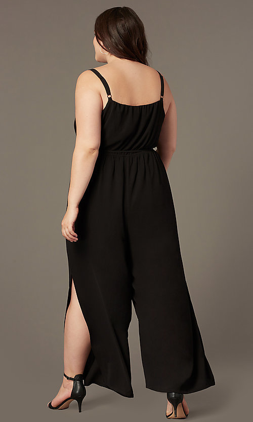 Image of split-leg v-neck wedding-guest plus-size jumpsuit. Style: AS-A9325106X Back Image