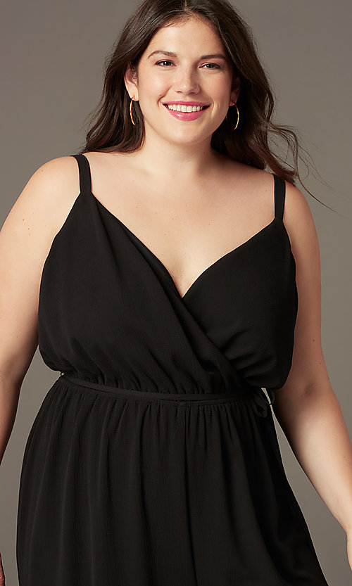 Image of split-leg v-neck wedding-guest plus-size jumpsuit. Style: AS-A9325106X Detail Image 1