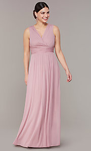 Image of empire-waist long rose pink wedding-guest dress. Style: JU-ON-650125 Front Image