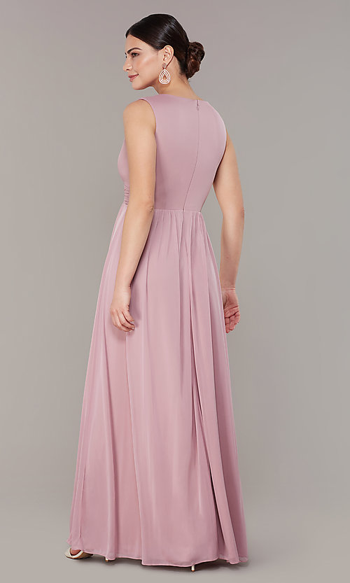 Image of empire-waist long rose pink wedding-guest dress. Style: JU-ON-650125 Back Image