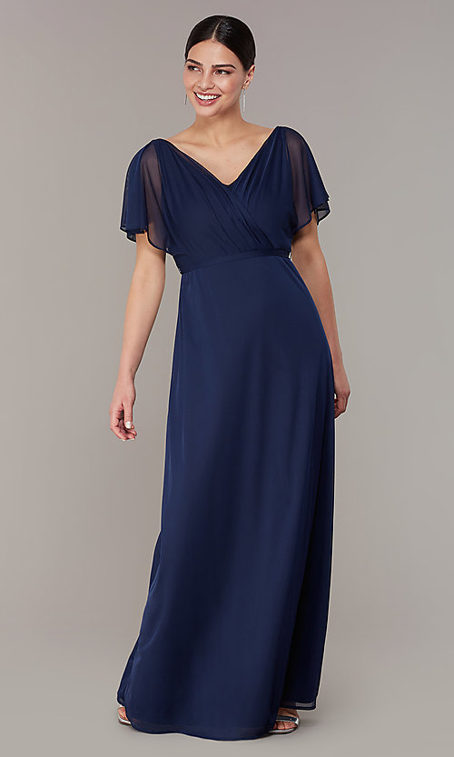Image of v-neck long navy MOB dress with flutter sleeves.  Style: JU-ON-650357 Front Image