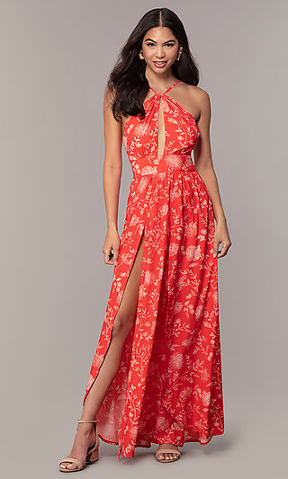 Long Coral Print Open-Back Wedding Guest Dress