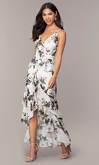 High-Low Print Wedding Guest Dress with Ruffles