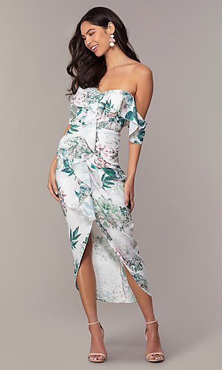 High-Low Off-the-Shoulder Print Wedding Guest Dress