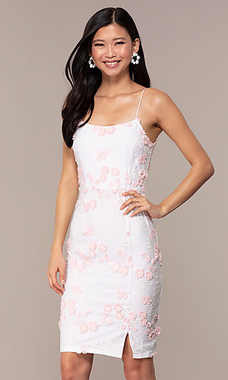 Short White Graduation Dress with Embroidery