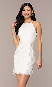 Image of short high-neck sleeveless white graduation dress. Style: MT-9407-W Front Image