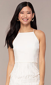 Image of short high-neck sleeveless white graduation dress. Style: MT-9407-W Detail Image 1