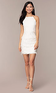 Image of short high-neck sleeveless white graduation dress. Style: MT-9407-W Detail Image 3