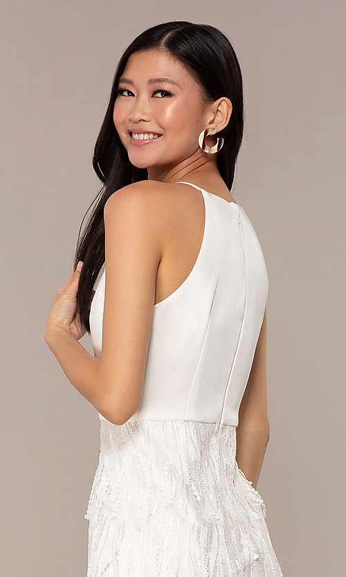 Image of short high-neck sleeveless white graduation dress. Style: MT-9407-W Detail Image 2
